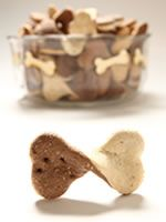 """BOW WOW TIES. A double layer of doglicious cinnamon and """"sugar"""" pairs perfectly with a cup of Puppacino! Oats, wheat flour, unbleached white flour, eggs, peanut butter, canola oil, cinnamon, honey, and water. http://www.fortailsonly.com/bow-wow-ties/"""