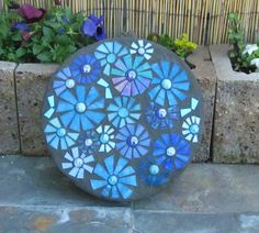 Blue Floral Stepping Stone