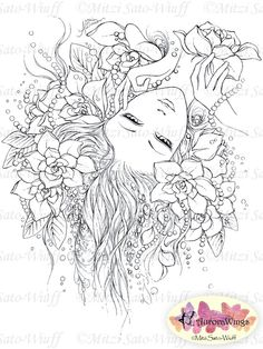 Digital Stamp Instant Download Woman with by AuroraWings on Etsy
