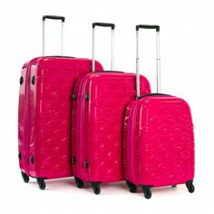 Lulu Guinness - Lips Spinner Suitcases in Pink