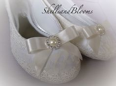 Wedding Bridal Ballet Flat Shoes - Vintage ivory white lace - Rhinestone and Pearls - Embellished - bridesmaids - eyelet trim