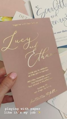 Romantic wedding invitations on dusty rose paper with gold foil stamping - the ultimate first impression of your big day!