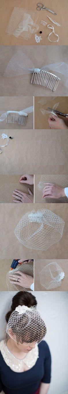 """Cómo hacer un """"velo jaula"""" de novia, súper chic / http://onefabday.com/"""