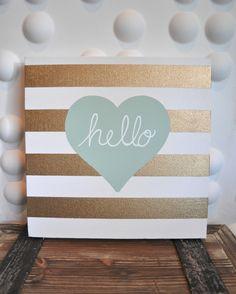 Gold Stripe Hello Heart 12x12 Canvas in Sea Foam Mint color. Bathroom print.