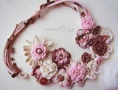 Crochet rose necklace Crochet necklace in by KSZCrochetTreasures