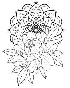 Beautiful Peony/Mandala Available by - Tattowierung Tattoo Stencil Designs, Flower Tattoo Stencils, Peony Flower Tattoos, Men Flower Tattoo, Flower Tattoo Meanings, Peonies Tattoo, Tattoo Design Drawings, Flower Tattoo Designs, Floral Tattoo Design