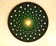 Wood Magnet~ Green Ombre Progression ~ Dot Art~ by Miranda Pitrone ~ Rings/circles/dots by P4MirandaPitrone on Etsy