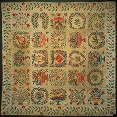 Album quilt made by a church congregation for a departing minister, Rev. Bernard Nadal Baltimore, MD. Dated 1847.