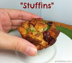 Stuffins: a perfectly portioned way to serve stuffing this holiday season! Only 80 calories or 2 Weight Watchers points each. www.emilybites.com #healthy #thanksgiving