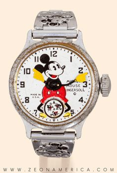 An original Ingersoll Disney Mickey Mouse metal bracelet watch dating back from the Mickey stands proud on the dial and helpfully points to the hour minuet markers so you know just when to get home for after-school cartoons! Mickey Mouse Watch, Disney Mickey Mouse, Minnie Mouse, Mickey Mouse Clock, Cartoon Fashion, School Cartoon, Disney Collectibles, Disney Fantasy, Alarm Clocks