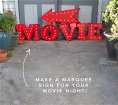 When we were brainstorming ideas for movie night decorations we kept coming back to vintage marquees and movies signs. So we put together this DIY using foam core and poster board. This would be awesome in a driveway or on the front of a house telling people where the movie night is. My friend Brooke told me about these strands of super cheap globe lights from Target, which makes the whole project really affordable. While the materials aren't too expensive this took us a whole afternoon to…