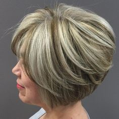 Light Brown Bob With Silver Highlights