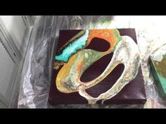 Acrylic pouring with silicone sprayed on the canvas ( request ) - YouTube