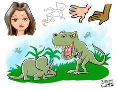 #Digitalart #illustration of #dinosaurs #tyrannosaurusrex #triceratop #girl #instagram #animals #creative #art #drawing