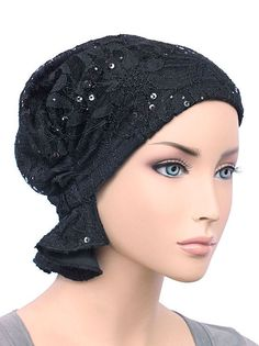 ABBEY-570 The Abbey Cap in Lace Sequin Black. Chemo ... db0111b51c5b
