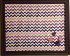 Wall Decor - Extra Large  Bulletin Board / Photo Board /  Vision Board / Magnetic Bulletin Board Framed Purple Chevron, Magnets Included