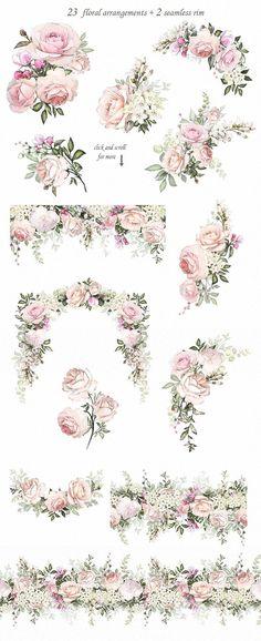 Floral Design set by LisimArt on Creative Market - Love & Roses. Floral Design set by LisimArt on Creative Market Love & Roses. Floral Design set by L - Wedding Card Design, Wedding Invitation Design, Wedding Cards, Wedding Quotes, Floral Invitation, Design Set, Design Ideas, Stand Design, Booth Design