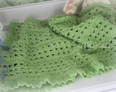 White Lace Christening Blanket and Baby Hat by olgascrochetfrenzy