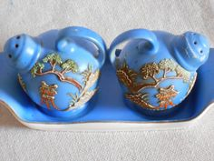 Vintege Blue Slip Ware Hand painted Dragonware by StoreFourandMore