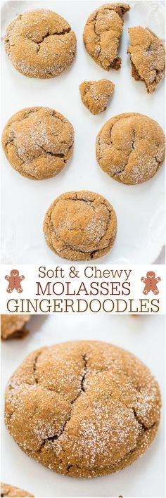 Best cookies ever, no joke. Soft and Chewy Molasses Gingerdoodles - 3 favorites combined! Soft molasses cookies, chewy gingerbread and crinkly snickerdoodles! So good! Holiday Cookie Recipes, Cookie Desserts, Holiday Baking, Christmas Baking, Just Desserts, Delicious Desserts, Dessert Recipes, Yummy Food, Christmas Cookies