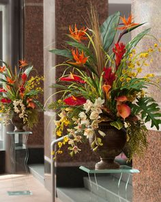 tropical floral arrangements | home silk florals select by color orange silk flowers orchids