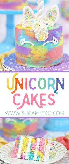 Unicorn Cakes - colorful miniature unicorn cakes from SugarHero.com #SugarHero #unicorn #cake