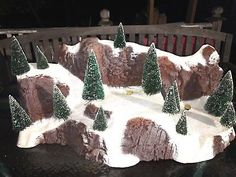 "Department 56 Large Village 35"" Snow Covered Mountain w Sisal Trees 5228-0"