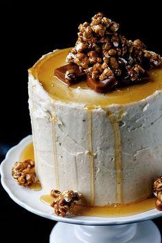 Caramel Corn Caramel Cake: A twist on southern caramel cake come this show stopping Caramel Corn Caramel Cake.