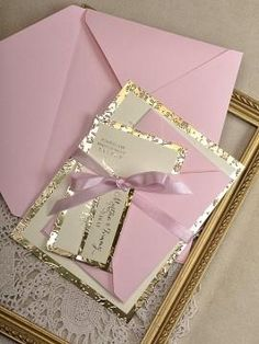 Gold and Pink Wedding Invitation -  Wedding Gold Embossed Invitations