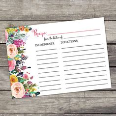 Floral Bridal Shower Recipe Cards  4x6 Recipe by PartyPrintery