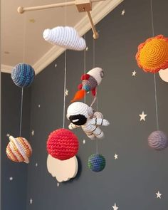 Crochet Baby Mobiles, Crochet Lovey, Crochet Mobile, Crochet Stars, Space Themed Nursery, Nursery Room Decor, Baby Crafts, Diy And Crafts, Arts And Crafts