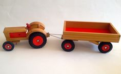 Vintage Wooden Toy Tractor and Trailer