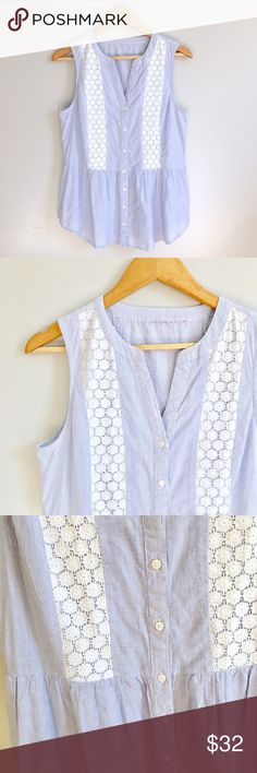 Stripe & Lace Top Blue and white stripe button up sleeveless top with lace detail. Fitted tongue waist and flare out. Gives a great shape. Across the chest 19 inches. Shoulder to hem 24 inches. In great condition ModCloth Tops Blouses