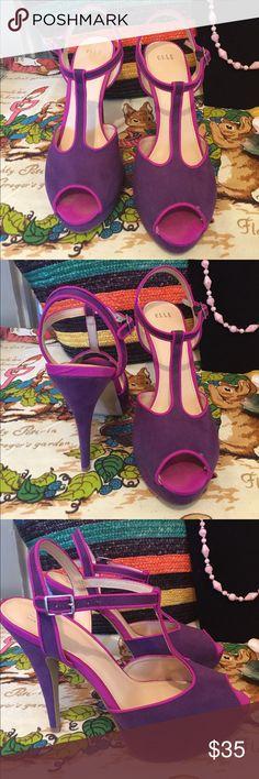"""Elle T-Strap Faux Suede Open Toe Heel-s Elle T-Strap Faux Suede Open Toe Heel. 5"""" Heel with 1"""" platform Elle Shoes Platforms"""