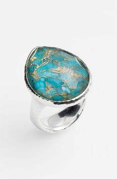 "Ippolita Large Teardrop Ring   Bronze rifts through a hand-faceted turquoise doublet, making a gorgeous statement ring.  Approx. setting dimensions: 7/8""W x 1""L.  Sterling silver/clear quartz/turquoise with bronze composites.  By Ippolita; imported."