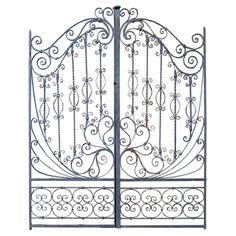 19th C. Hand Forged Iron Gates USA 19th Century Wonderfully designed all hand forged iron gates.