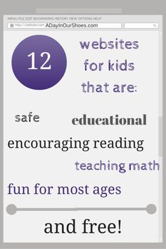 List of 12 free and educational websites for kids of all ages. Some focus on reading, some math, some science. All are fun and kids will enjoy learning. Learning Tools, Learning Activities, Kids Learning, Learning Apps, Homeschooling Resources, Children Activities, Homeschool Math, Kindergarten Activities, Educational Websites For Kids