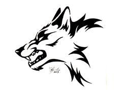 Tribal Wolf Head Tattoo | Black Tribal Wolf Tattoo Design Drawing