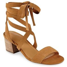 Tommy Hilfiger Light Brown Zim Block Heel Sandal - Women's ($60) ❤ liked on Polyvore featuring shoes, sandals, light brown, suede lace up sandals, heeled sandals, tommy hilfiger shoes, suede sandals and lace up sandals
