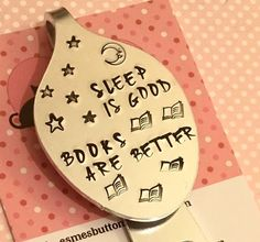 "Excited to share this item from my #etsy shop: #Bedtime #Bookmark, #HandStamped, #SpoonBookmark, ""Sleep is good, books are better"", #gift for #reader, #spooniebookmark, #spoonie,"