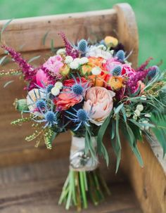bright rustic wedding bouquet
