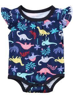 Love this adorable baby girl bodysuit. Features colorful dinosaur print.
