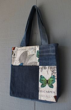 Butterfly Inspired Denim and Fabric Patch Front by AllintheJeans