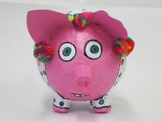 Art Art Art!  paper mache clown pig-balloon, little cups and chipboard for the ears