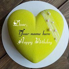 Heart Shaped Birthday Name Cake For Wishes And Greeting Cartoon Birthday Cake, Friends Birthday Cake, Special Birthday Cakes, Birthday Name, Heart Shaped Birthday Cake, Happy Birthday Hearts, Happy Birthday Quotes, Write Name On Cake, Cake Name