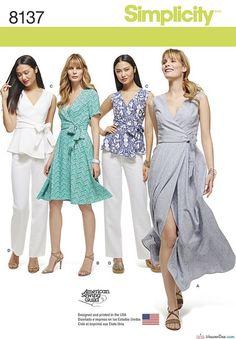 Simplicity Sewing Pattern S8137 Misses' & Plus Size Wrap Dresses, Top, & Trousers … WeaverDee.com