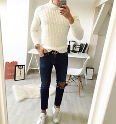 White sweater, ripped jeans, #guccibelt and white sneakers by @streetandgentle [ www.RoyalFashionist.com ]