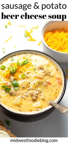 This hearty, comforting beer cheese potato soup combines the best of both worlds - marrying the timeless flavors of saus Sausage Potato Soup, Potato Meals, Beer Cheese Soups, Beer Soup, Chowder Soup, Cooking Recipes, Healthy Recipes, Hearty Soup Recipes, Healthy Soup