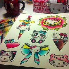 Hello Kitty old school tattoo flash