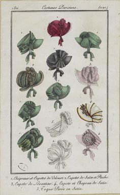 Costume Parisien, 1811, From the Bibliothèque des Arts Décoratifs via SceneInThePast flickr. plate 1121 #headwear